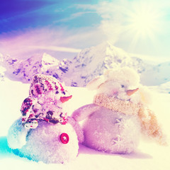 Winter, snow - happy snowman friends, filtered