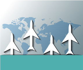 Illustration of planes flying over world map