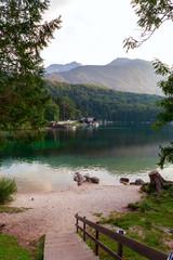 Lake Bohinj, located in the Bohinj Valley of the Julian Alps