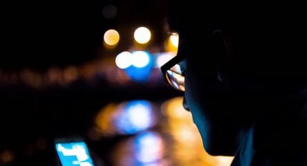 Business Travel Smartphone Man Typing Close Up Night Beach