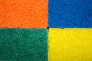 Colored sponge for washing. Photo.