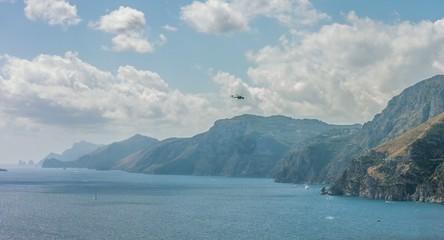 Rescue Chopper Battling Forest Fire Water Jet Flying Mountain