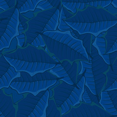 seamless background of blue leaves