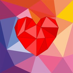 Valentines vector card with heart on wrapping surface background