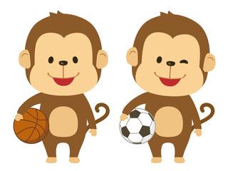 猿 サッカー バスケット