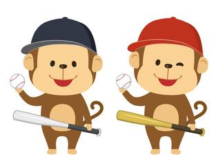猿 野球 イラスト