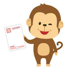 はがきを持つ猿