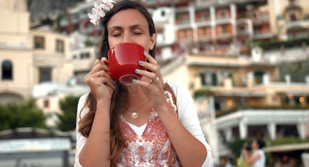 Beautiful Young Female Drinking Coffee Restaurant Cafe Romantic