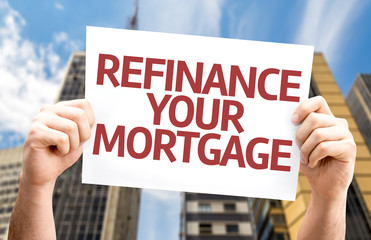 Refinance Your Mortgage card with a urban background