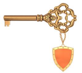 Vintage ornate brass key