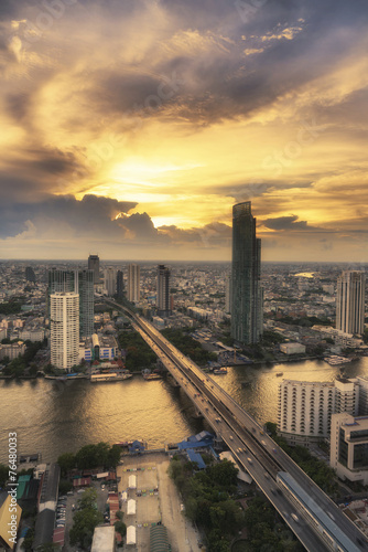 Landscape of River in Bangkok city with bird view