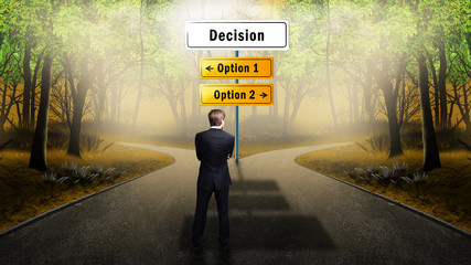businessman has to decide between 2 options