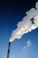Steam-heat pipe in blue sky