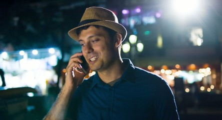 Confident Young Smiling Successful Man Talking On Phone Urban
