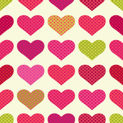 Bright seamless pattern with hearts
