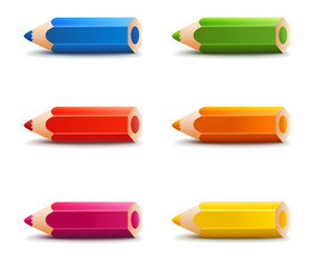 Colorful pencils set with shadow, isolated on white