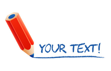 Vector illustration of cartoon 3d pencil writing your text, isol
