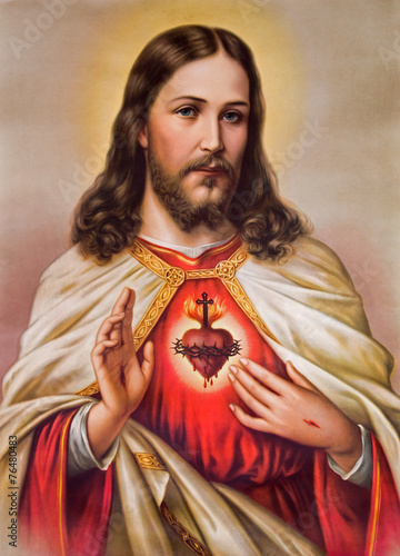 Plakat Typical catholic image of heart of Jesus Christ