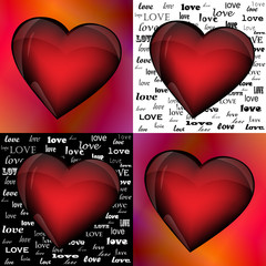 Hearts on different backgrounds