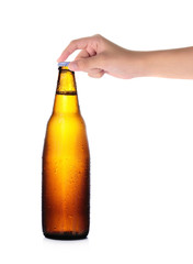 hand holding bottle of Beer on white background