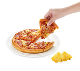 Pizza on the plate and pineapple slice isolated on white backgro - 76480804
