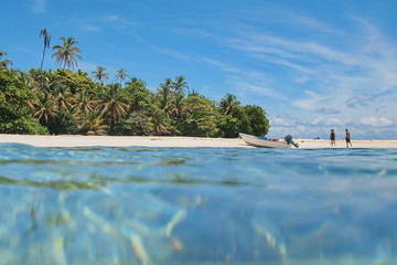 Caribbean island with boat on the beach Panama