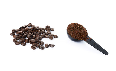 coffee bean and coffee powder isolated on white