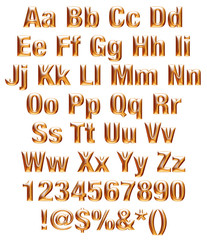 3D alphabets, digits and sign on isolated white background.