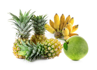 Thai fruits collection ,pineapple,banana and pomelo isolated on