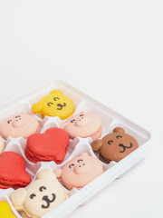 Close up macaroons animal and heart shape