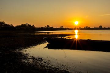 Sunrise River, orange, river, water, shadows, dark, dark.