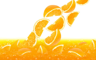 fresh orange slices falling in juice