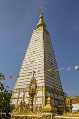 White Pagoda, golden, white, sky, blue, square.