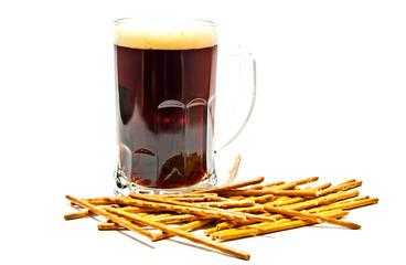 dark beer and breadsticks
