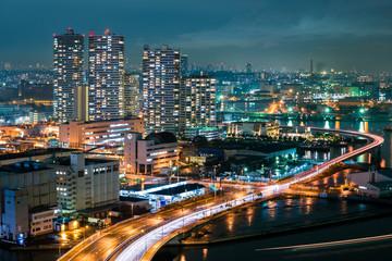 Night view Yokohama Bay