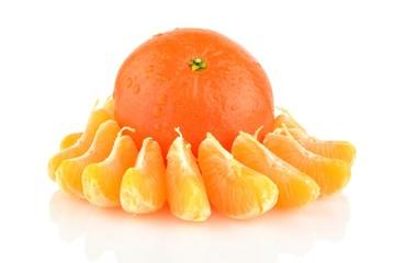 Studio shot pieces dewy mandarines isolated on white