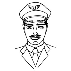 Hand-drawn pilot. Doodle. Isolated. vector