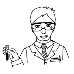 Hand-drawn scientist. Chemist. Doodle. Isolated. vector