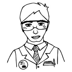 Hand-drawn scientist. Doodle. Isolated. vector
