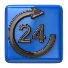 Blue 24 hours customer service icon