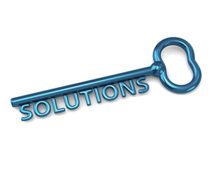 Blue key with word solutions