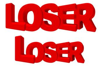 loser perdente fallito parola 3d rossa, game sfida lavoro gioco