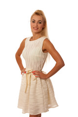 Beautiful young blonde woman posing isolated over white backgrou