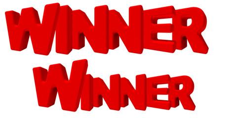 Winner vincente vittorioso parola 3d rossa, game sfida lavoro