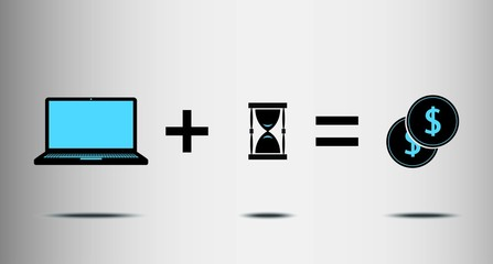 metaphor for the work plus time equals money, flat vector design