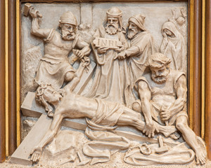 Vienna - Jesus is nailed to the cross relief  in Sacre Coeur