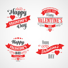 Happy Valentines Day Lettering Card. Typographic With Ornaments