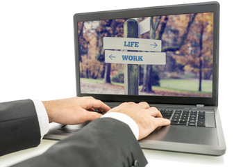 Businessman on Laptop for Life and Work Concept