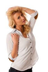 Portrait of beautiful young blonde, woman isolated over white ba