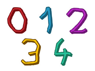 Colorful 01234 irregular numbers or digits
